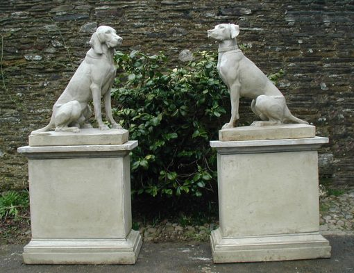 A Wonderful Pair of Hunting Dogs on Plinths - Reclaimed Garden Statuary