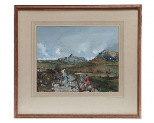 A fine original Michael Lyne (British, 1912–1989) Watercolour and Gouache – Fox Hunting Ireland Over The Banks.