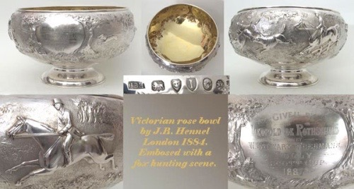 Antique Silver Rose Bowl - Fox Hunting Scene - Rothschild