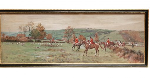 Frank Algernon Stewart 1877 – 1945 Original Watercolour and Gouache – The Cottesmore Hunt A fine original Frank Algernon Stewart 1877 – 1945 Watercolour and Gouache Signed by the artist – The Cottesmore Hunt. A Fox Hunting scene of the Cottesmore Hunt with hounds in full cry, the field spread out into the distance.