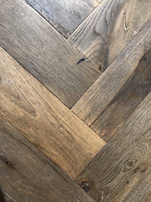 Bespoke Antique Reclaimed Solid Oak Herringbone Parquet Floors