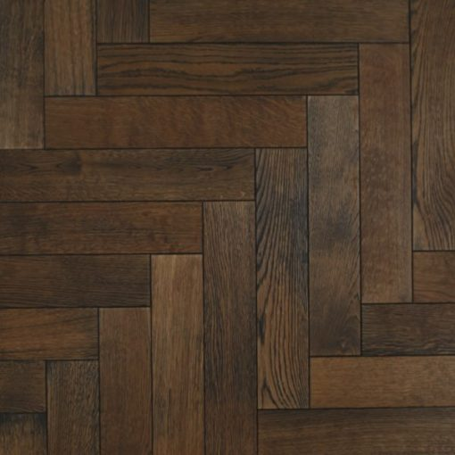 Bespoke Dark Smoked Herringbone Parquet Block Wood Floors