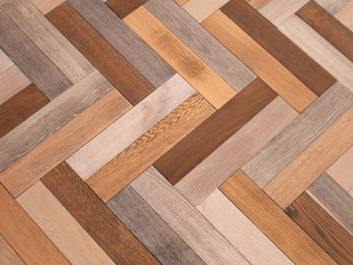 Bespoke Engineered Oak Herringbone Parquet Blocks Multi Colour Finsh